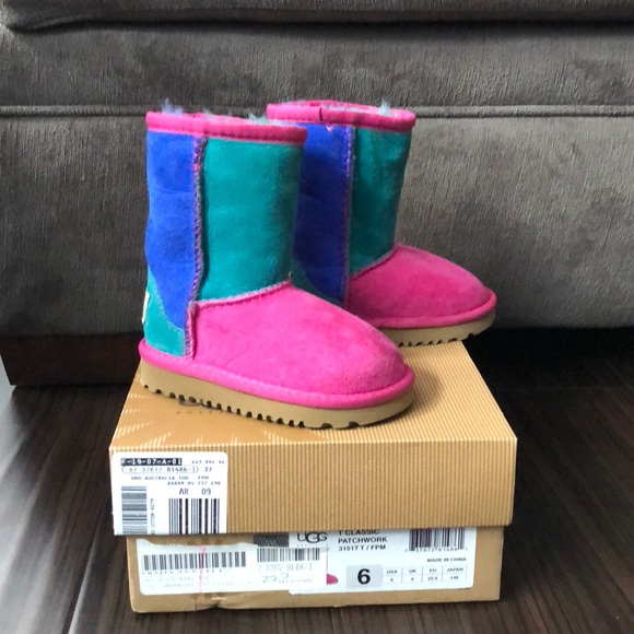 5f4cb532554 Toddler Uggs classic multi color patchwork boots